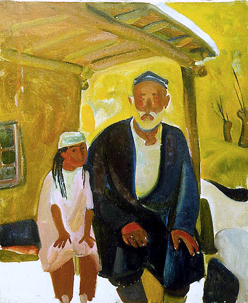 Mill man with a granddaughter
